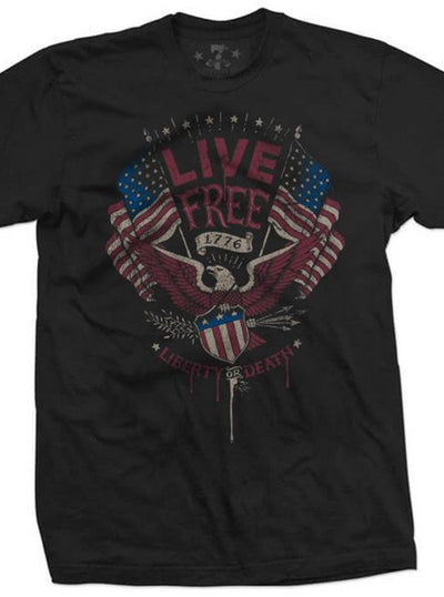 "Men's ""Live Free"" Tee by 7th Revolution (Black)"