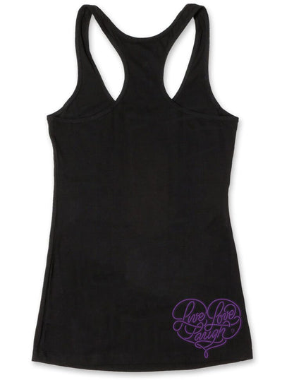 "Women's ""Live, Laugh, Love"" Racerback Tank by OG Abel (Black) - www.inkedshop.com"