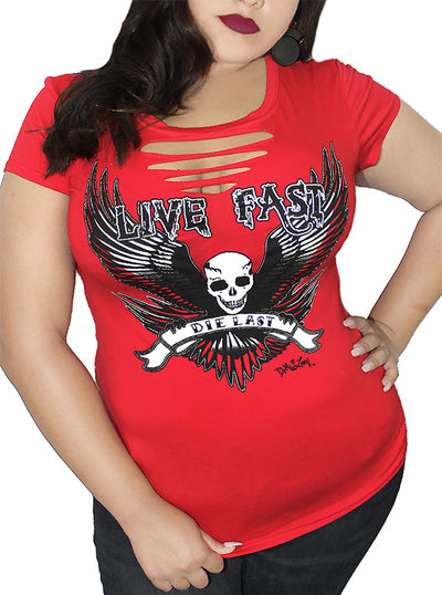 Women's Live Fast Slashed Curve Tee by Demi Loon