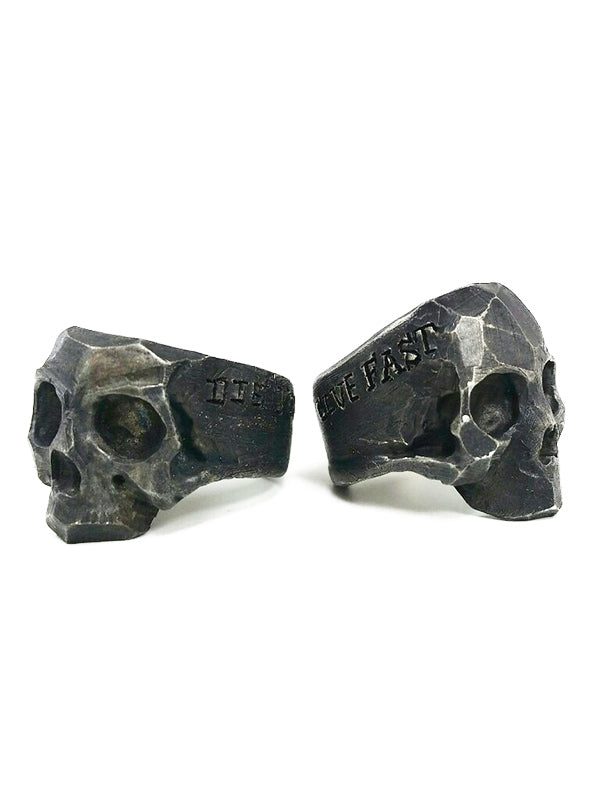 Live Fast Die Young Combo Set Skull Rings by Lor G Jewellery (Sterling Silver)