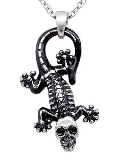 "Women's ""Ghoulish Gecko"" Necklace by Controse (Steel) - www.inkedshop.com"