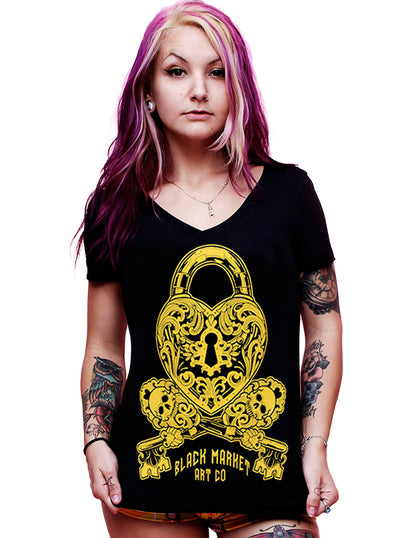 Women's Locked V-neck Tee by Black Market Art