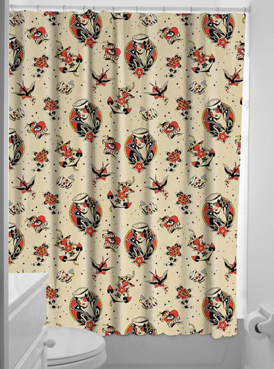 """Lost Love"" Shower Curtain by Sourpuss - www.inkedshop.com"