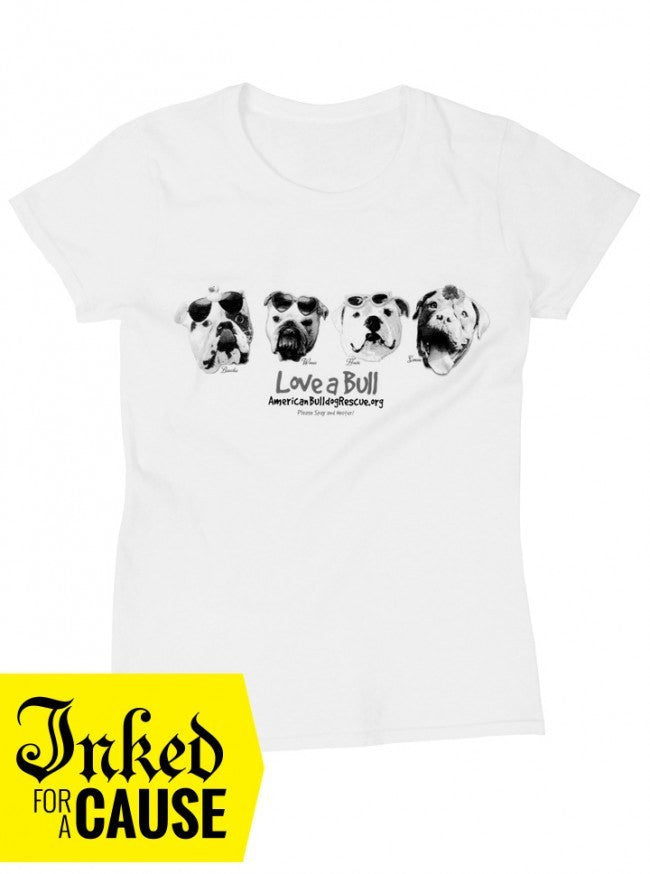 "Unisex ""Love A Bull"" Tee by American Bulldog Rescue (White) - www.inkedshop.com"
