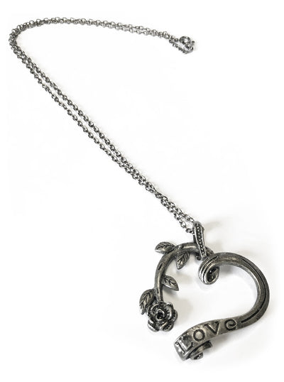 """Love is a Garden"" Necklace (Dark Silver)"
