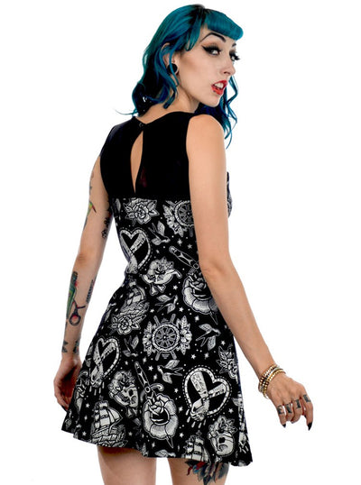 Women's Tattoo Love Skater Dress by Too Fast