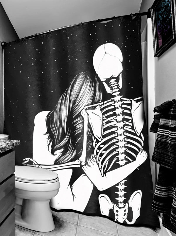 Skeleton Love Shower Curtain by Too Fast