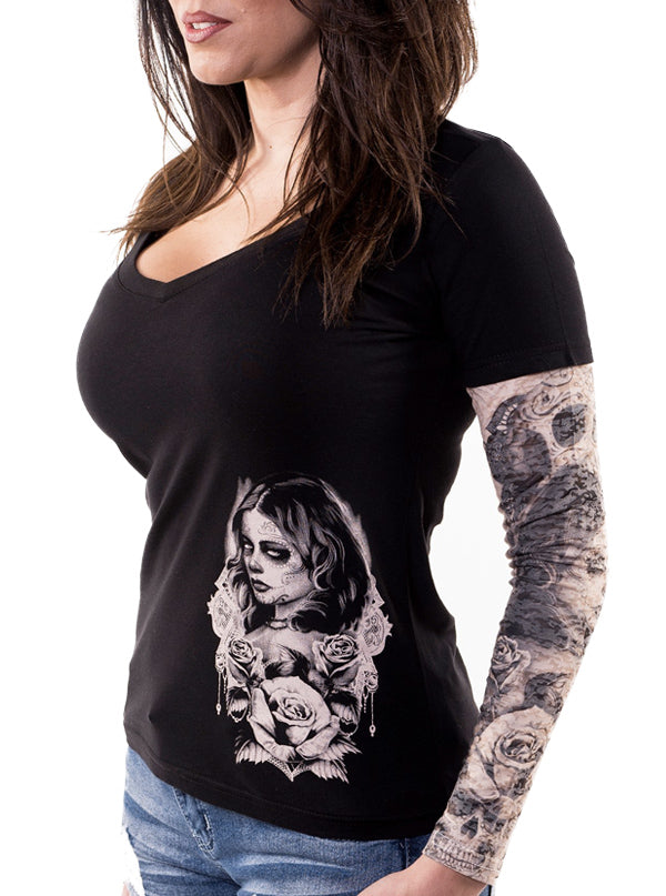 "Women's ""Love Death"" Tattoo Sleeve Tee by Lethal Angel (Black)"