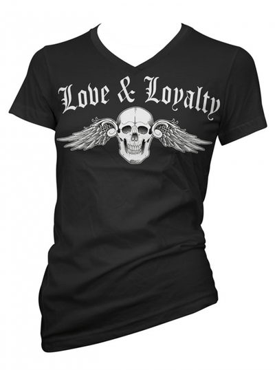 "Women's ""Love & Loyalty"" V-Neck Tee by Cartel Ink (Black) - www.inkedshop.com"