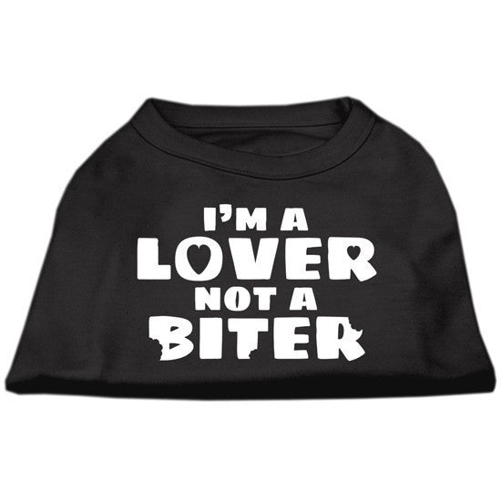 """I'm a Lover, Not a Biter"" Dog Shirt by Mirage (Black) - www.inkedshop.com"