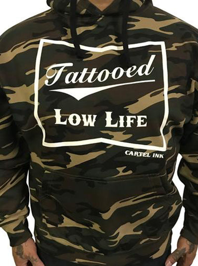 "Men's ""Tattooed Low Life"" Hoodie by Cartel Ink (Camo)"
