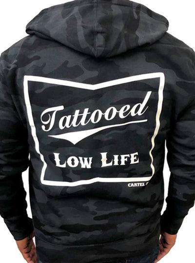 Men's Tattooed Low Life Zip Hoodie by Cartel Ink