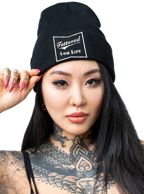 """Tattooed Low Life"" Knit Beanie by Cartel Ink (Black)"