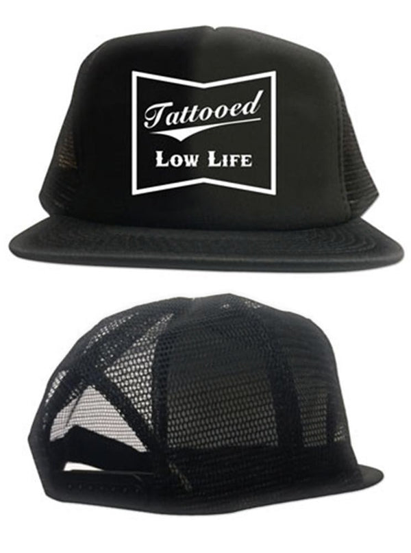 """Tattooed Low Life"" Trucker Hat by Cartel Ink (Black)"