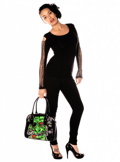 "Women's ""Long Sleeve Braided Arm"" Top by Folter Clothing (Black) - www.inkedshop.com"