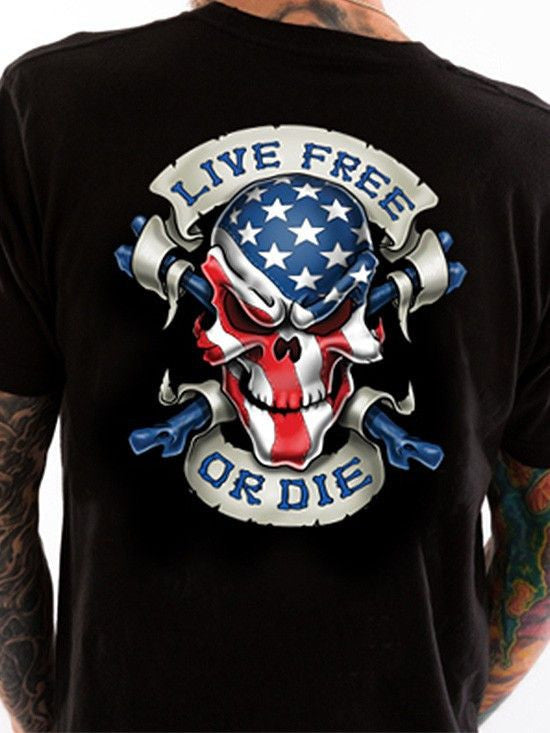 "Men's ""Live Free Skull"" Tee by Lethal Threat (Black) - www.inkedshop.com"