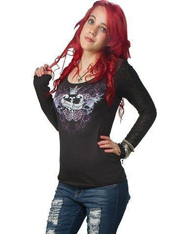 "Women's ""Divine Danger"" Lace L/S Tee by Lethal Angel (Black) - www.inkedshop.com"