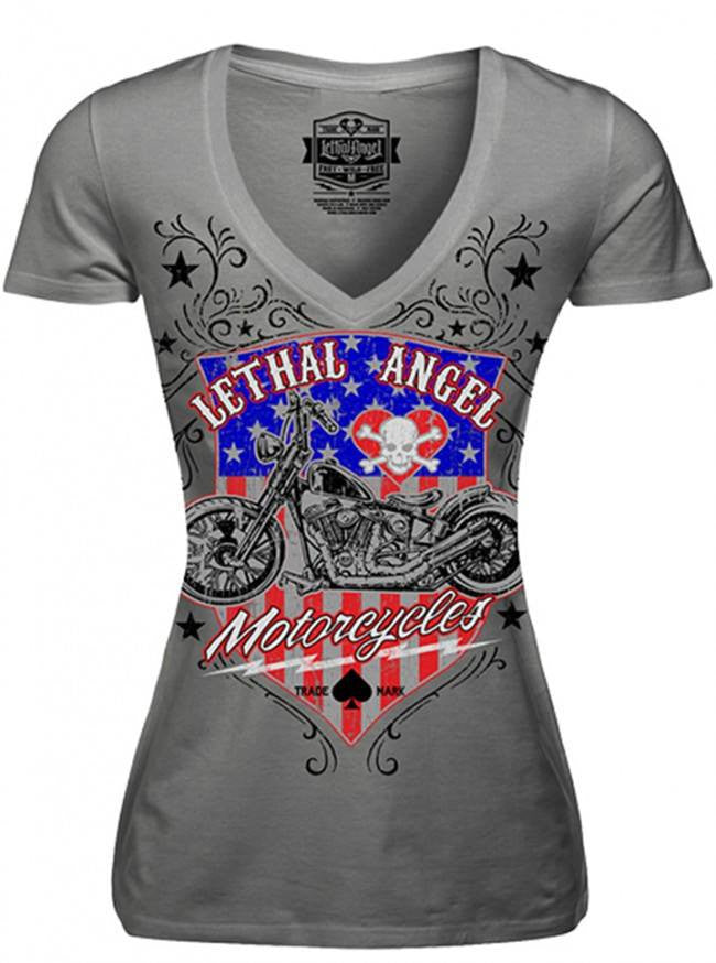 "Women's ""USA Motorcycle"" Tee by Lethal Angel (Grey) - www.inkedshop.com"