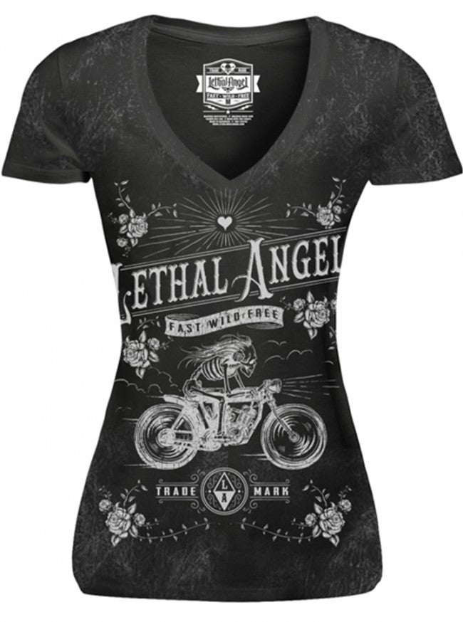 "Women's ""Skeleton Biker"" Tee by Lethal Angel (Washed Black) - www.inkedshop.com"