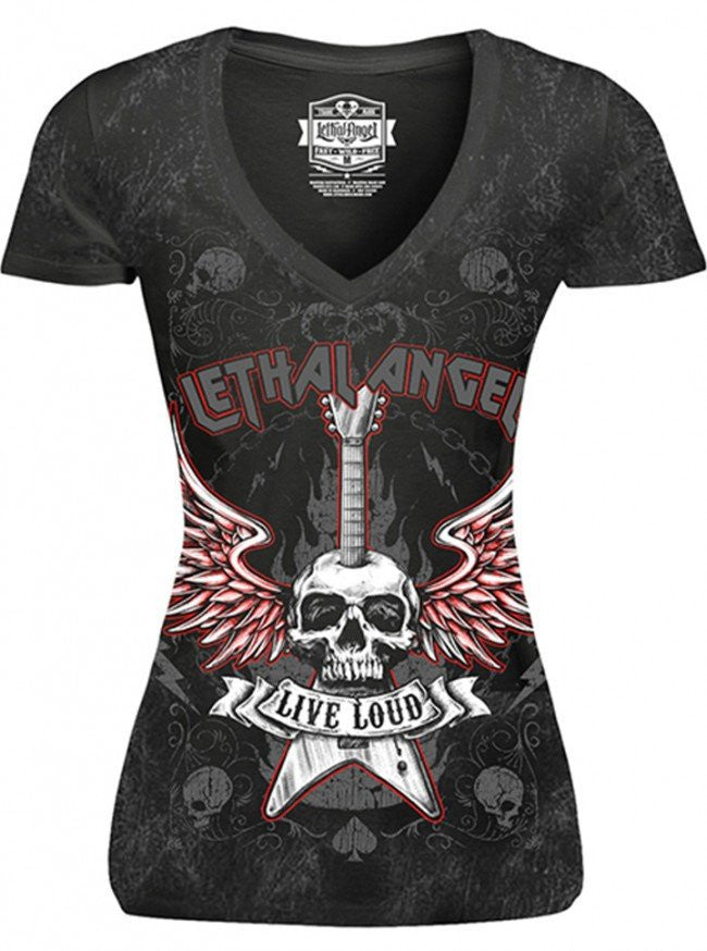 "Women's ""Live Loud"" Tee by Lethal Angel (Washed Black) - www.inkedshop.com"