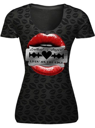 "Women's ""Razor Lips"" Burnout Tee by Lethal Angel (Black) - www.inkedshop.com"