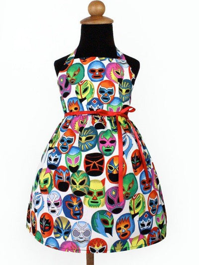 "Girl's ""Luchador"" Dress by Hemet (White) - www.inkedshop.com"
