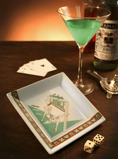 """Lucky's Lounge"" Coaster/Cocktail Napkin Tray by Trixie & Milo (1960's Vegas) - www.inkedshop.com"