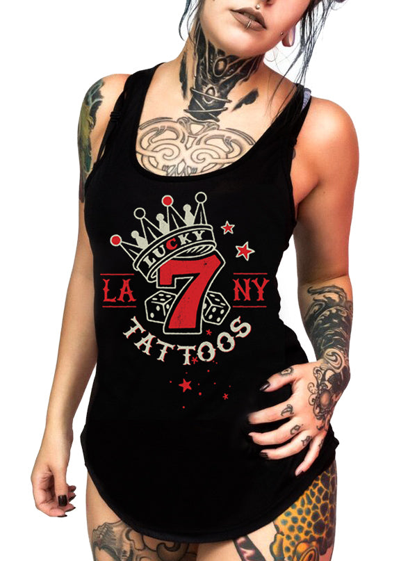 "Women's ""Lucky 7 Tattoo"" Tank by 7th Revolution (Black)"