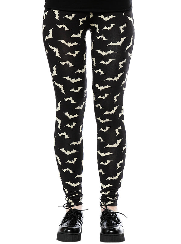 "Women's ""Luna Bats"" Leggings by Sourpuss (Black)"