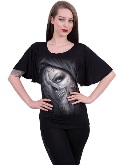 "Women's ""Dead Hand"" Boat Neck Bat Sleeve Top by Spiral USA (Black) - www.inkedshop.com"