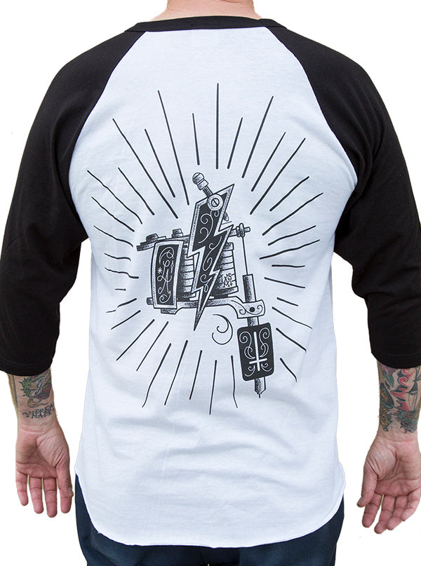 Men's Machine Baseball Tee by Black Market Art (White/Black)