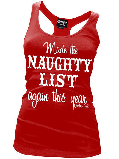 "Women's ""Made The Naughty List Again"" Racerback Tank by Cartel Ink (Red) - www.inkedshop.com"