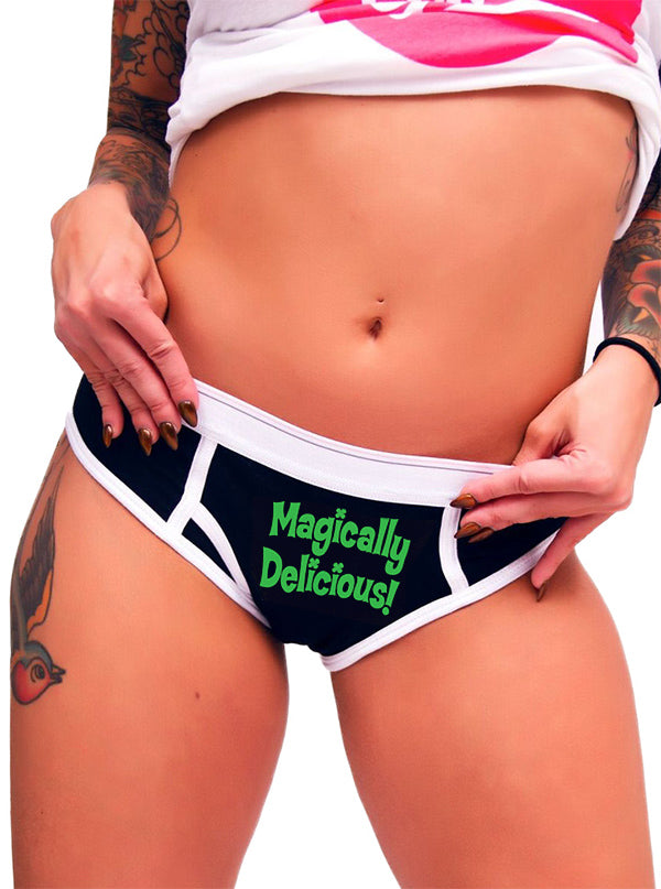 "Women's ""Magically Delicious"" Boy Brief Underwear by Aesop Originals (Black)"