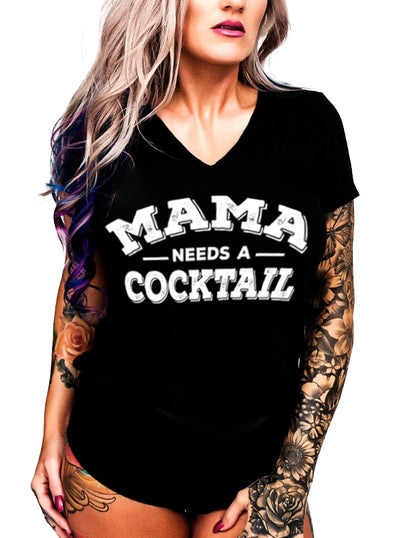 Women's Mama Needs a Cocktail V-Neck Tee by Inked