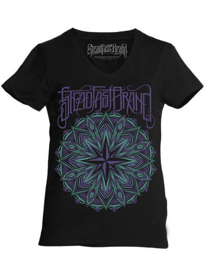 "Women's ""Mandala Compass"" Tee by Steadfast Brand (Black/Purple) - www.inkedshop.com"