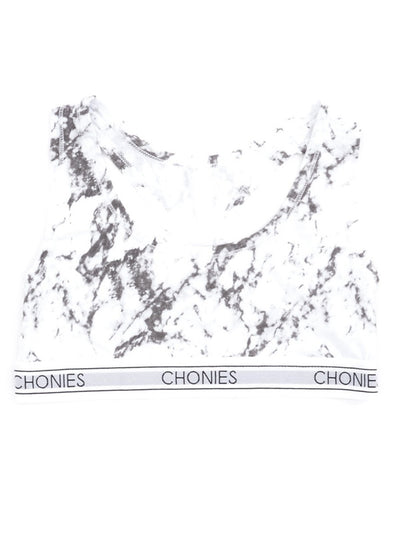 "Women's ""Marble"" Sports Bra by Chonies (White)"