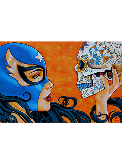 Mascara De La Muerte Print by Mike Bell for Lowbrow Art Company
