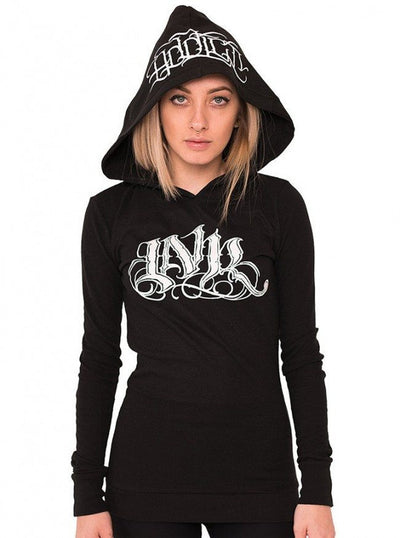 "Women's ""Ink Meas"" Thermal Hoodie by InkAddict (Black/White) - InkedShop - 1"