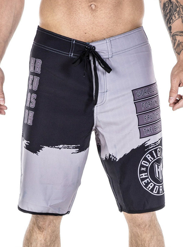 Men's Full Measure Board Shorts by Headrush Brand (Black/Grey)