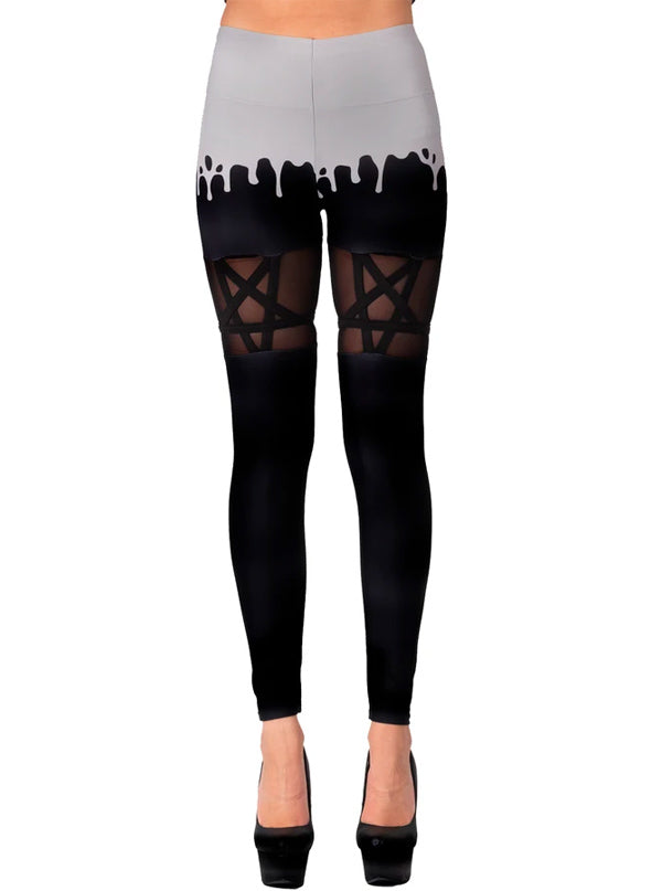 Women's Melty Spoopy Pentagram Mesh Leggings by Too Fast