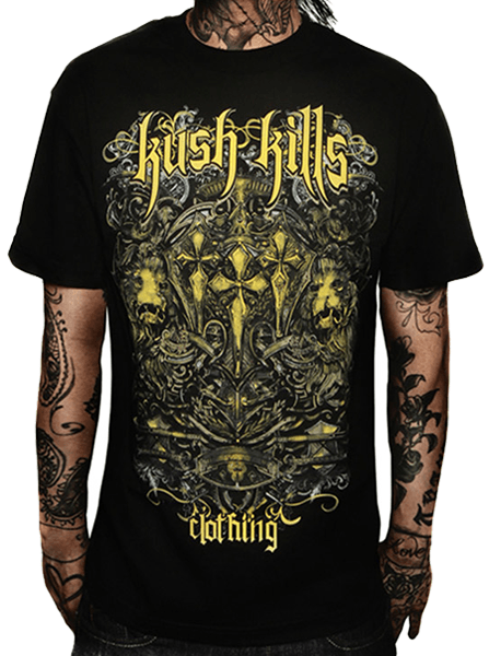 "Men's ""Lions Crest"" Tee by Kush Kills Clothing (Black) - InkedShop - 1"