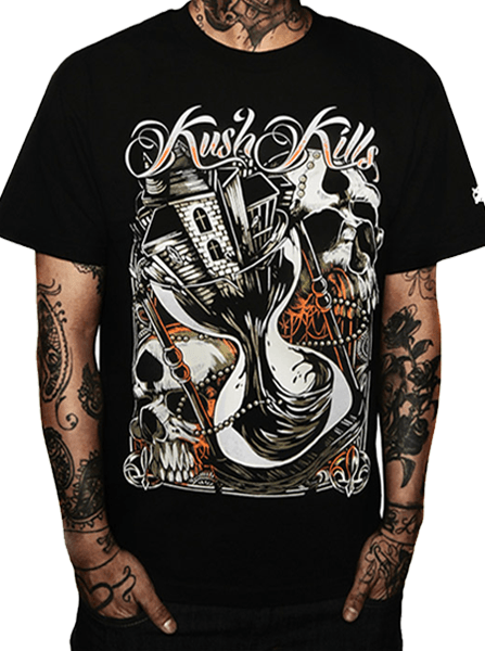 "Men's ""Time is Running Out"" Tee by Kush Kills Clothing (Black) - InkedShop - 1"