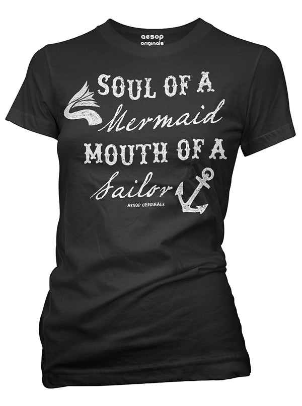 Women's Soul Of A Mermaid Mouth Of A Sailor Tee by Aesop Originals