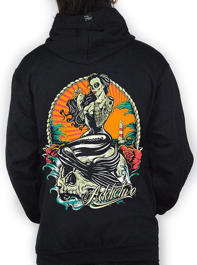 "Men's ""Tattoo Mermaid"" Hoodie by Addictive Clothing (Black)"