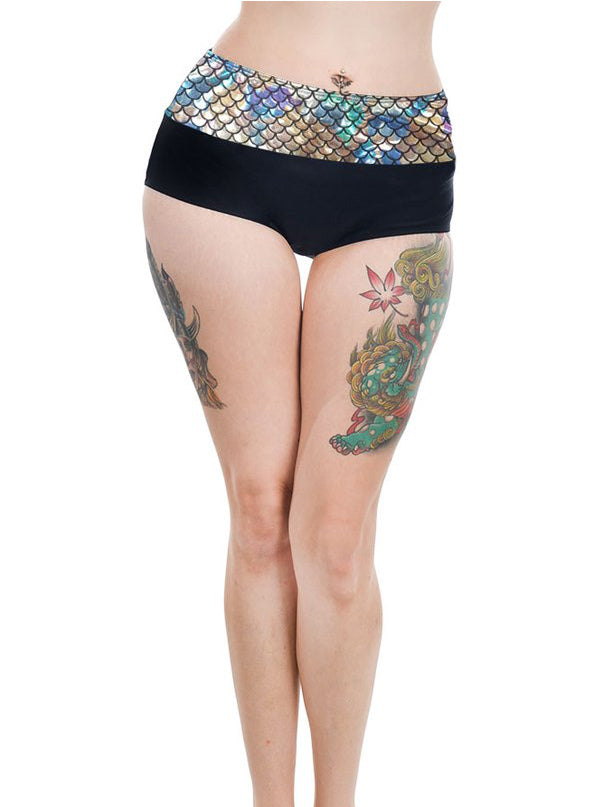 Women's Mermaid Retro Pinup Bikini Bottom by Too Fast (Holographic)