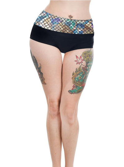 "Women's ""Mermaid"" Retro Pinup Bikini Bottom by Too Fast (Holographic)"