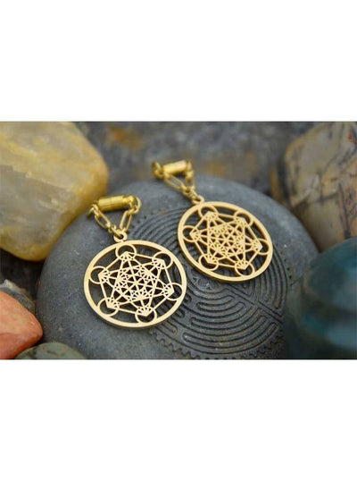 """Metatron Cube"" Magnetic Clasp Gauged Earrings by Intrepid Jewelry (More Options) - www.inkedshop.com"