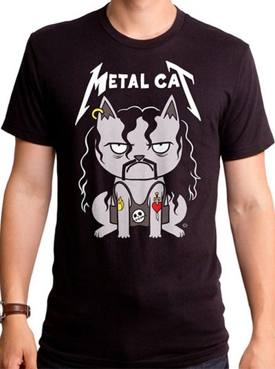 "Men's ""Metal Cat"" Tee by Goodie Two Sleeves (Black)"