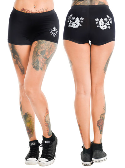"Women's ""Mexican Embroidery"" Hot Shorts by Too Fast (Black)"