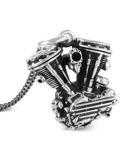 """Motorcycle Engine"" Necklace by Lost Apostle (Antique Silver) - www.inkedshop.com"